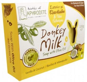 Săpun cu Lapte de Măgăriță, Aromă Vanilie și Nucă de Cocos, 100g